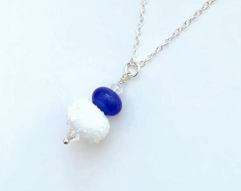 White Sugar-Coated Bead Necklace, Blue Lampwork Necklace, Unique Gift for Mum, Bridal Jewellery Idea, Gift for Mom, Friends Birthday Gift