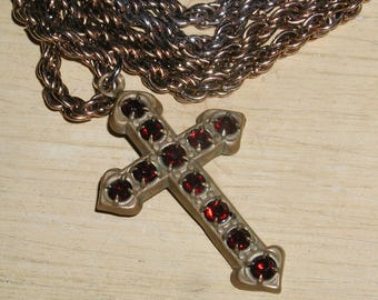 Vintage Antique Brass Prong-Set Garnet Red Glass Stone Cross Pendant Necklace