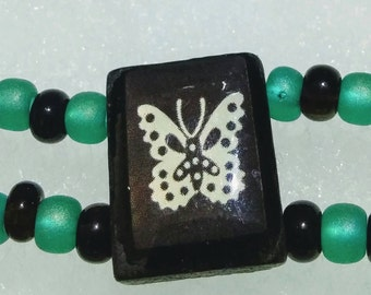 Green/Black/Butterfly Beaded Two-Strand Necklace