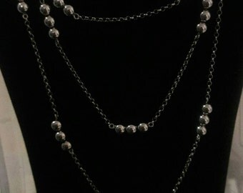 Sterling silver beaded rhodium necklace