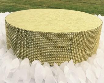 "Cake Stand 6"" To 18"" Round Gold Silver Bling Rhinestone Riser, Platform, Separator for Wedding, Anniversary, Birthday, Quinceanera Event"