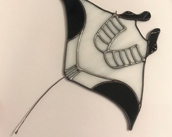 Handmade Manta Ray Stained Glass
