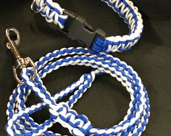 Dog collar with leash Blue and White