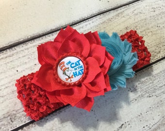 Cat in The Hat Headband, Baby Headband,Red / Blue Headband , Cat in The Hat Hair Bow, Newborn Headband, Infant Headband, Dr Seuss Headband