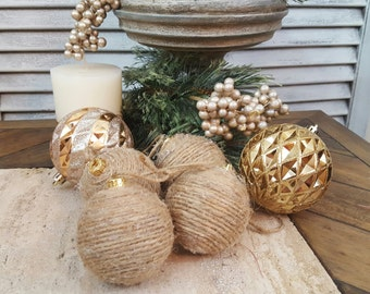 Set of Four Small Twine Wrapped Christmas Tree Ornaments, Shabby Chic Ornaments, Cottage Chic, Rustic Ball Ornaments, Bowl Fillers