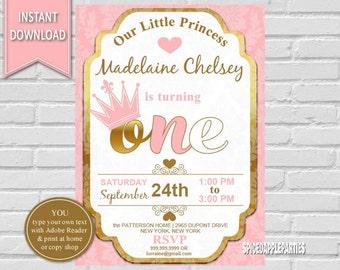Princess Birthday Invitation |First Birthday Princess Invite,Princess Party,1st birthday, Princess Invite,Pink and Gold,Girls First Birthday