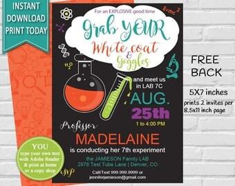 Science Birthday Invitation | Science Invitation, Science Party, Mad Scientist, Mad Scientist Party, Chalkboard Birthday INSTANT DOWNLOAD