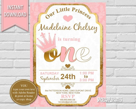 Princess Birthday Invitation First Birthday Princess - 1st birthday invitations gold and pink