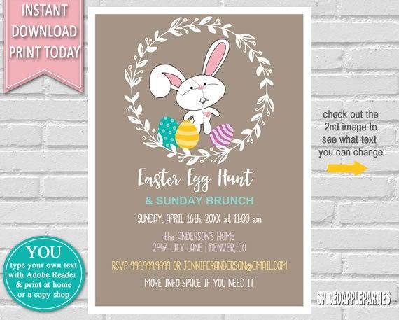 Easter Egg Hunt Easter Invitation Egg Hunt Invitation Easter