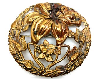 Vintage 1930s Brass Open Work Repousse Flowers Lily Large Round Brooch