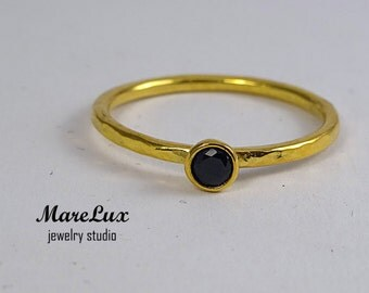 Hammered 3 mm Black Diamond Gold Ring, Black Cubic Zirconia Stackable Ring, CZ 24K Gold Filled  Handmade Black Diamond Ring Engagement Ring