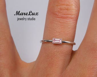 Pink Diamond Baguette Cut Silver Ring, Pink CZ Ring, Stacking Sterling Silver Pink Cubic Zirconia Ring 925 Silver Thin Dainty Stackable Ring
