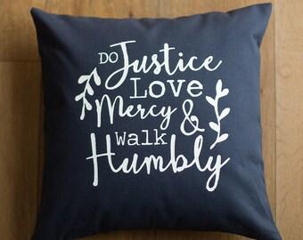 16x16 navy & white scripture screen printed throw pillow cover Micah 6:8 bible verse