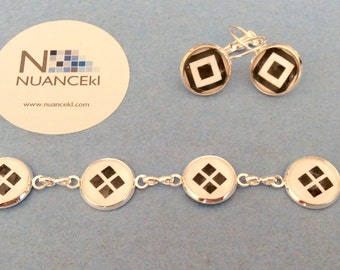 Bracelet and earrings/ WHITE and BLACK SQUARE