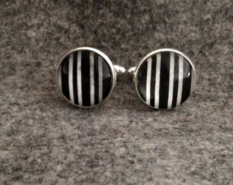 Cuff links/ bouton de manchette/ 14 mm/ BLACK and WHITE stripe