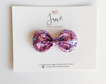 the BLING bow    PINK CONFETTI; pink glitter bow, pink sequin bow, bithday bow, girly bow