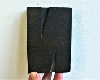 """Wood letterpress N - 4. 7/8ths """" tall - Antique WOODEN Letterpress Printing block- wood letter /  12 cm // CHUNKY industrial rustic"""