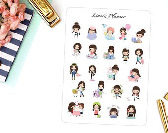 Sampler Sheet Felicia | Girl (matte planner stickers, perfect for planners)