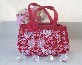Red and White Oriental Print Slouchy Handbag with Detachable Flower Brooch