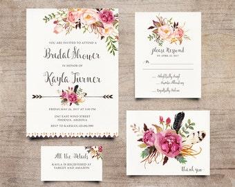 Boho Baby Shower Invite, Bohemian Invitation, Rustic RSVP Card, Peony Invitation, Calligraphy Invite, Hand-Painted Invite, Boho Chic Invites