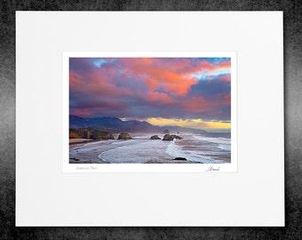 Matted Color Print, Fine Art Photography, Warm Sunset Color, Cannon Beach Oregon, Photo Decor, Coastal Photography