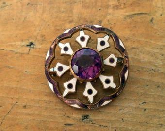 Czech Brass Purple Amethyst Glass Purple White Enamel Brooch