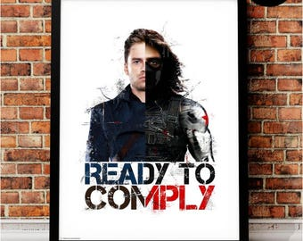 Winter Soldier Bucky Barnes Art Print, Marvel Superhero Inspired, Quote, Avengers Art, Civil War, Steve Rogers, Stucky, Ready to Comply