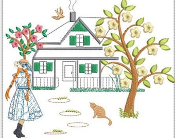"""ANNE of green gables machine embroidery download 3 different sizes (5.5x5  6x6 7x7 """")"""