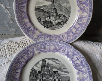 Pair French Antique  purple transferware plates Rebus Plates Digoin religious plates church Lourdes Paris Pilgrimag Easter Jesus