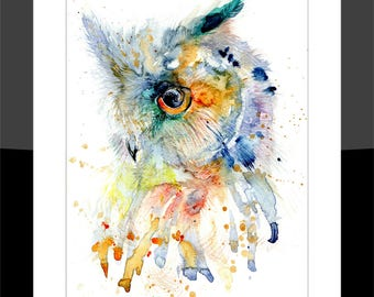 SkinnyDaz -A3 Owl Print of my Original Watercolour Painting - Open Edition