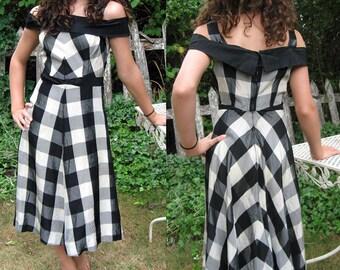 Handmade Vintage Black and White Taffeta Gingham Dress