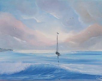 Sailboat Painting, Gift for him, Ship, Yacht, Lake Painting, Coastal Landscape, Seascape, Original Oil Painting, Ocean Scene, Fine Art