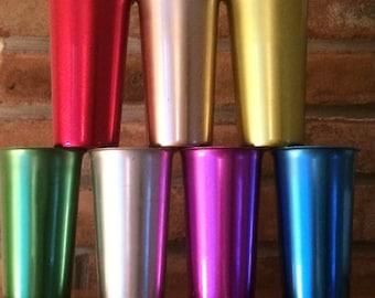 Set of Seven Midcentury Anodized Aluminum Tumblers