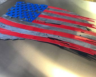 Tattered and torn Metal American Flag