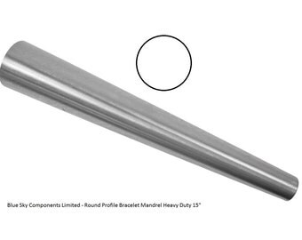 "Solid Steel Bracelet Mandrel Round Profile 15"" Pro Quality Shaping Hammering"