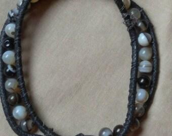 Agate Beaded Flower Of Life Wrap Bracelet