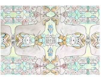 Daschund Village: Art Grooveau Series  Limited Edition Digital Print on A4 fine art paper