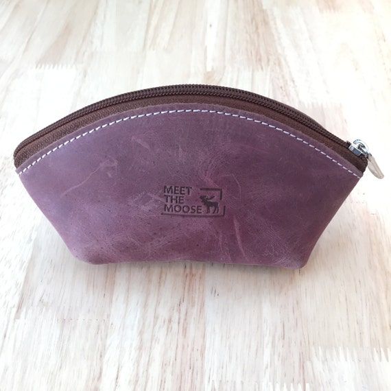 Leather Makeup Pouch, Leather Sunglass Case, Small Leather Purse, Vanity, Leather Change Purse, Leather Cosmetic Purse, Purse Organiser