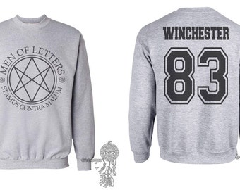 Winchester 83 Sam Winchester Men Of Letters Stamus Contra Malum Supernatural printed on Light Steel Crewneck Sweatshirt