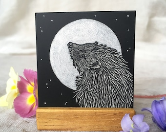Hedgehog - original miniature scraperboard illustration