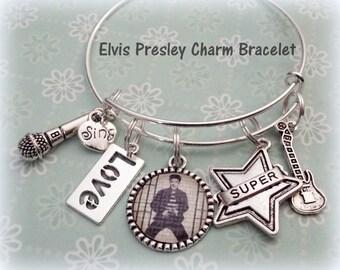 Elvis Presley Fan Bracelet, Elvis Charm Bracelet, Gift for Elvis Fan, Elvis Lover Gift, Gift for Elvis Lover, Elvis Presley Lover Gift
