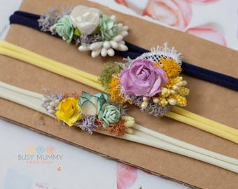 Photography prop newborn/toddler  size handmade headband set