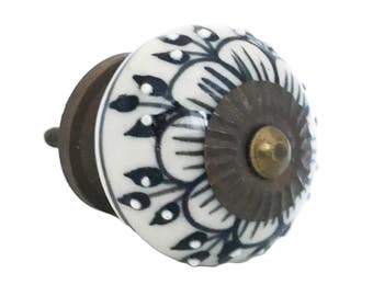 Black Zinnia Flower Embossed Dots Ceramic Knob Pull for Dressers, Cabinets, Drawers, Doors - i1123