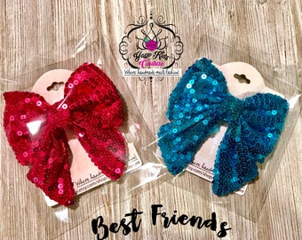 Best Friend Bow Set, Sequin Hair Bows, Sequin Hair Clips,Sparkly Bows