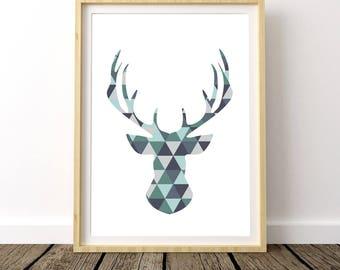Geometric Deer Art, Deer Head, Deer Antler, Forest Animals, Geometric Deer Print, Geometric Deer Wall Art, Nursery Decor,Geometric Deer Head