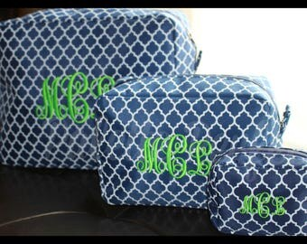 Monogrammed Cosmetic Bag Set, Personalized Toiletry Bag Set, Customized Makeup Bag Set, Embroidered Makeup Bag Set, Custom Cosmetic Bag Set