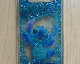 Disney Stitch Bling Sparkle Liquid Glitter Quicksand Case For Samsung Galaxy S8 Plus / S8 Ship From NY