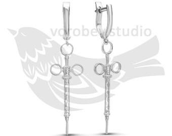 Syringe Earrings - Medical Earrings - Medical Gifts - Nurse gifts - Doctor Gifts - Nurse Jewelry-Medical Student Gift-MD gift