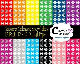 subzero colorant snowflake digital paper frigid winter paper gelid christmas paper numb color paper crescent winter digital paper - Colorant Textile