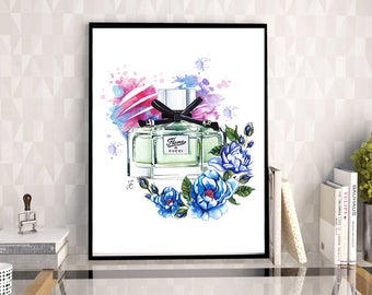 Gucci perfume, Gucci illustration, Gucci, Gucci artwork, Gucci print, perfume print, watercolor painting, fashion illustration, perfume art